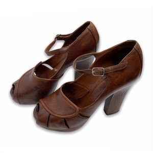 Chloe Boho Peep Toe Chunky Heels